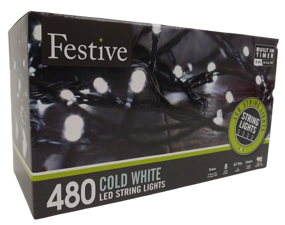 480 White Led Lights W/8 Multifunction With Timer