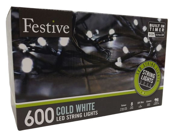 600 White Led Lights W/ 8 Multifunction With Timer