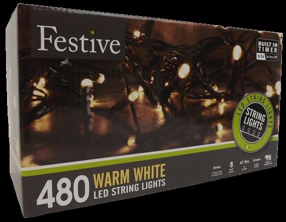 480 Warm White Led Lights W/ 8 Multifunction Timer