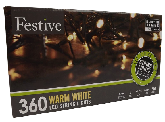 360 Warm White Led Lights W/ 8 Multifunction Timer