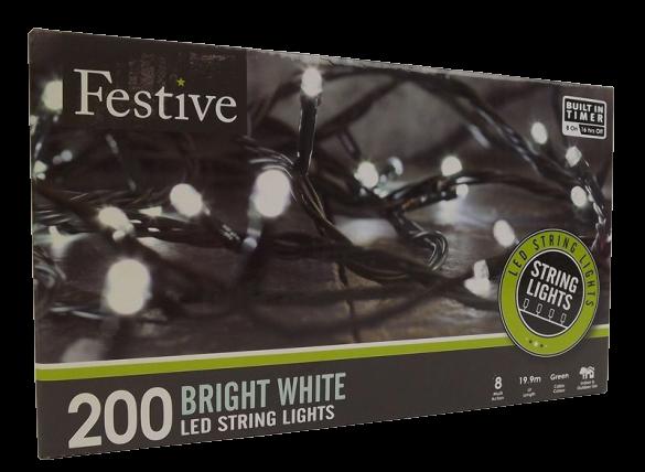 200Lv White Led Lights W/8 Multifunction - Timer
