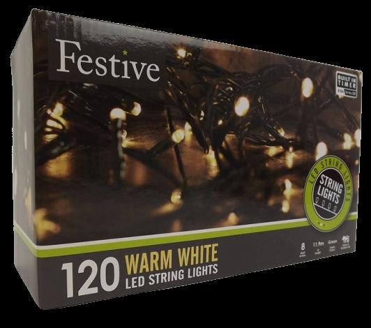 120 Warm White Led Lights W/8 Multifunction Timer