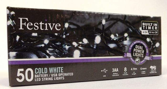 50 Dual Power Lights - White