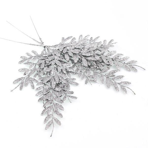 40Cm Berberis Spray Glittered Silver
