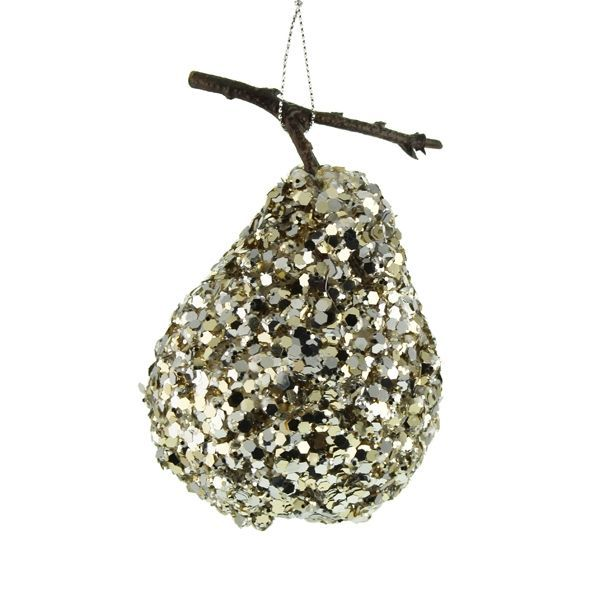 8cm Hanging Glittered Pear Silver