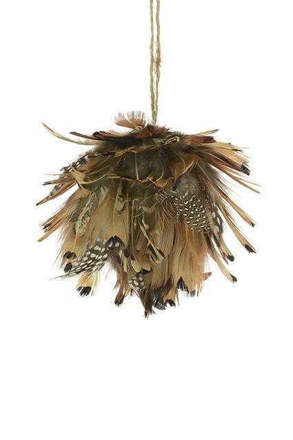 Feather Artichoke Bauble 9Cm Brown