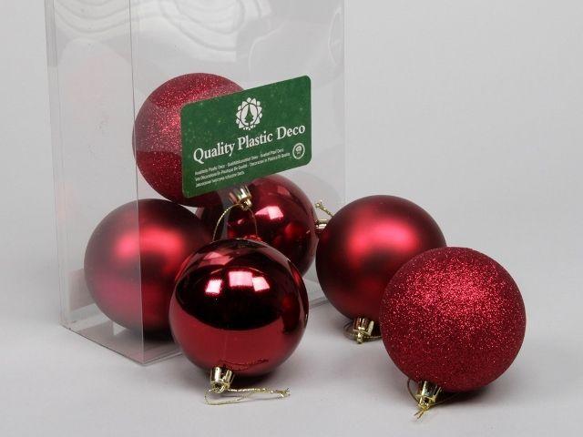 6 Plastic Balls Combi Dark Red 80 Mm