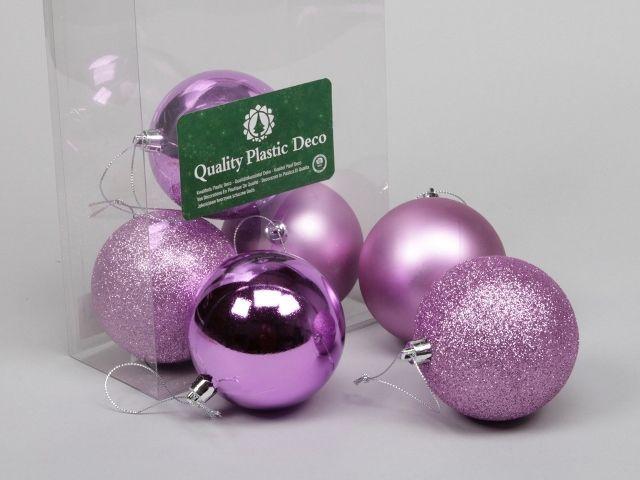 6 Plastic Balls Combi Pink 80 Mm