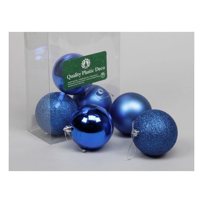 6 Plastic Balls Combi Royal Blue 80 Mm