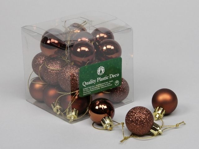 27 Plastic Balls Combi Autumn Brown 30 Mm
