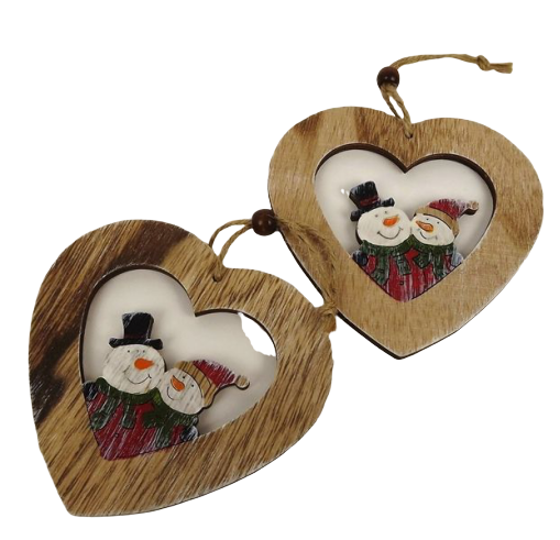 2 Wooden Hearts Natural 14 Cm