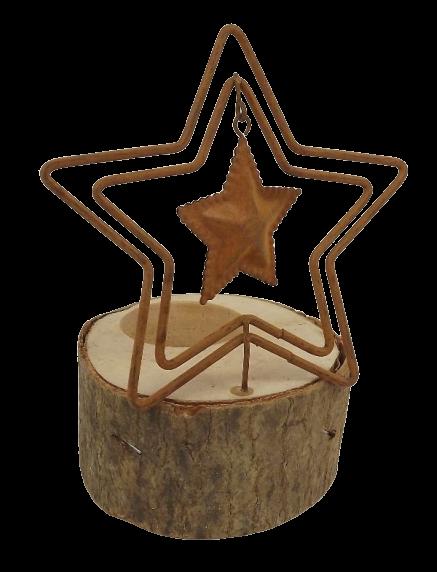 1 Metal/Wood Candle Holder