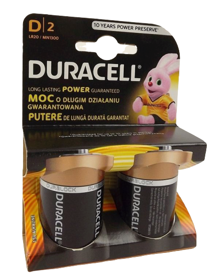 D Cell Duracell Batteries x 2