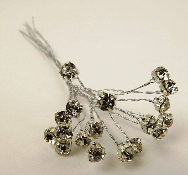 5mm Diamante Branch Silver (3 Bunches x 6 Stems)