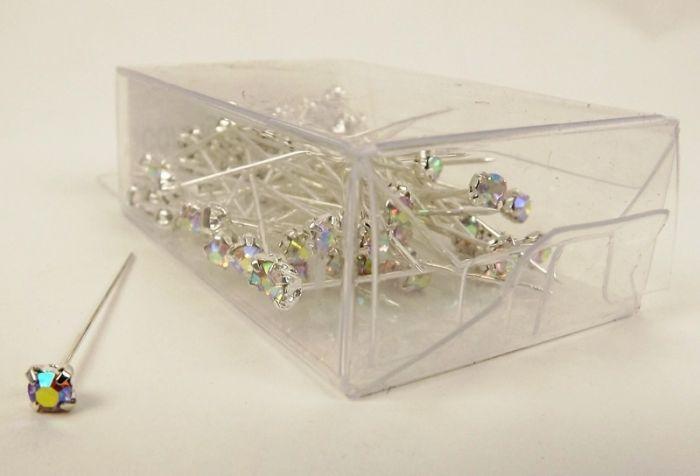 4mm Diamante Corsage Pin Iridescent (4cm Pin x 72pcs)