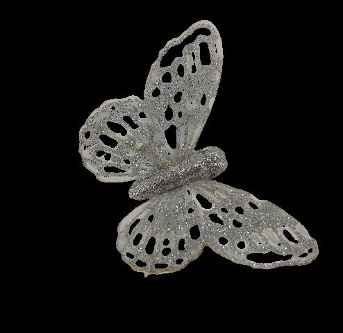 7cm Glitter Butterflies (12 Per Pack On 20cm Wire) Silver