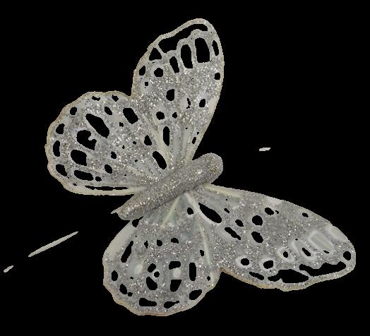 10cm Glitter Butterflies (12 Per Pack On 20cm Wire) Silver