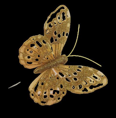 10cm Glitter Butterflies (12 Per Pack On 20cm Wire) Gold
