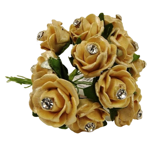 Diamante Mini Foam Rose App 2cm x 12 Stems Gold