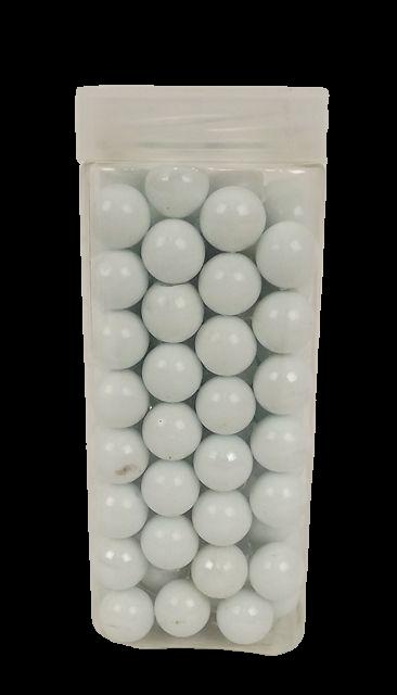 700gr Pearlised/Matt White 16mm Glass Marbles In Jar