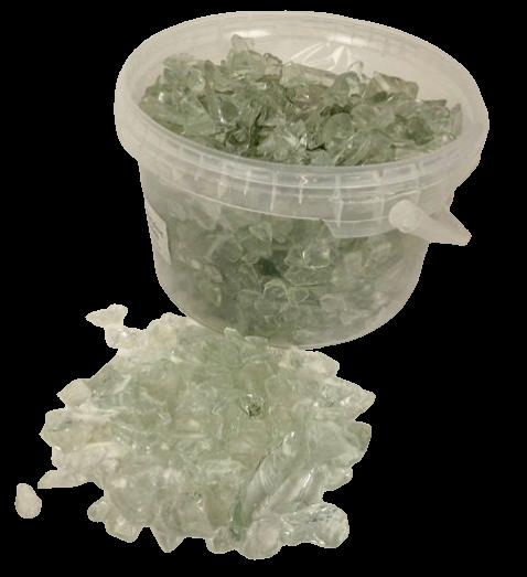 10-20mm Clear Glass Stones In Bucket App 3.5kg