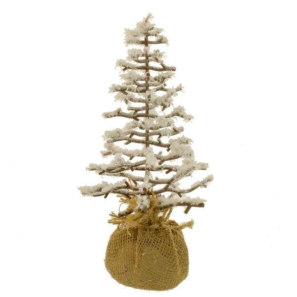 27cm Snowy Tree Burlap Brown