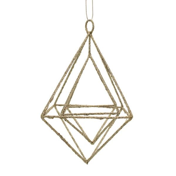 15cm Glittered Hanging Rhombus Champagne