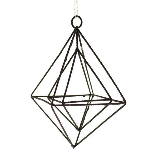15cm Glittered Hanging Rhombus Black