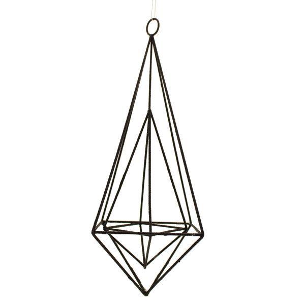 25cm Hanging Wire Diamond Black