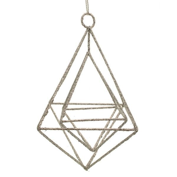 15cm Glittered Hanging Rhombus Silver
