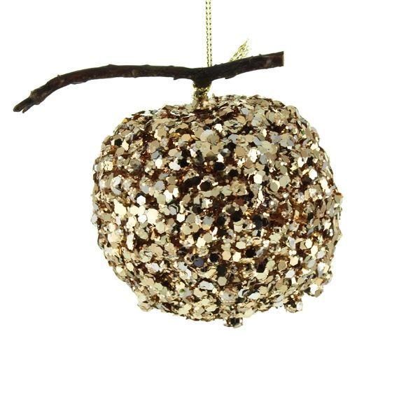 8cm Hanging Glittered Apple Gold