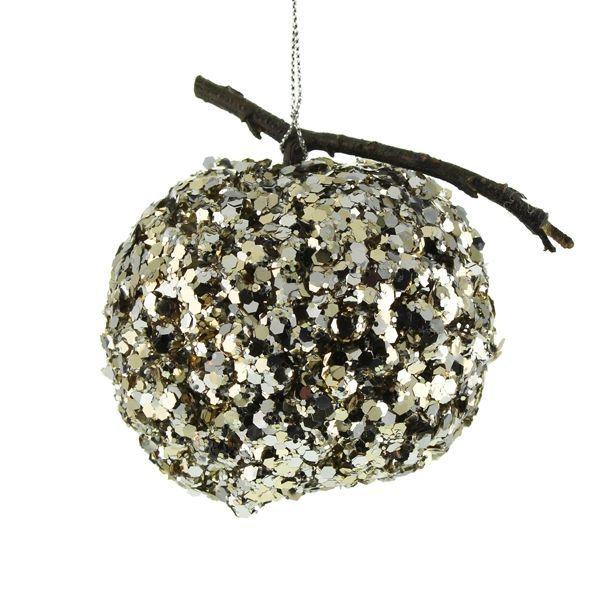 8cm Hanging Glittered Apple Silver