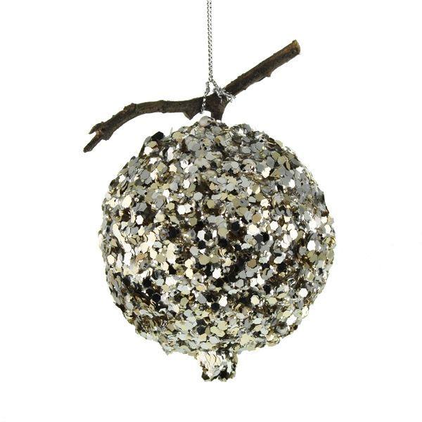 8cm Glittered Pomegranate Silver