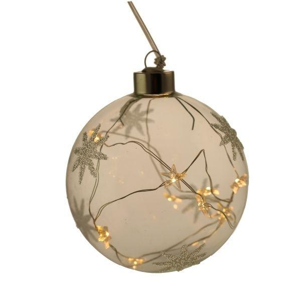 10cm LED Star Pattern Glass Ball Clear