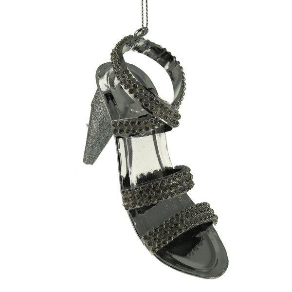 6cm Glittered High Heel Shoe Silver