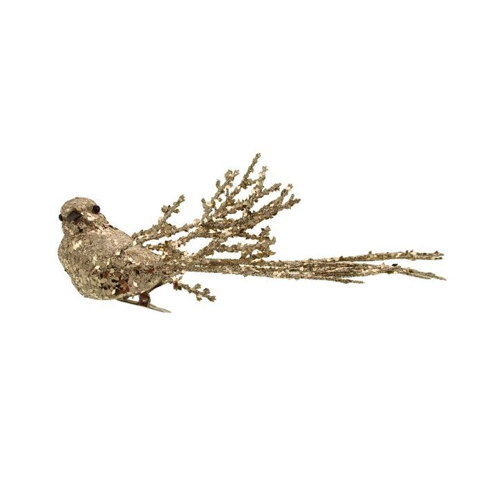 20cm Glittered Bird Clip Champagne