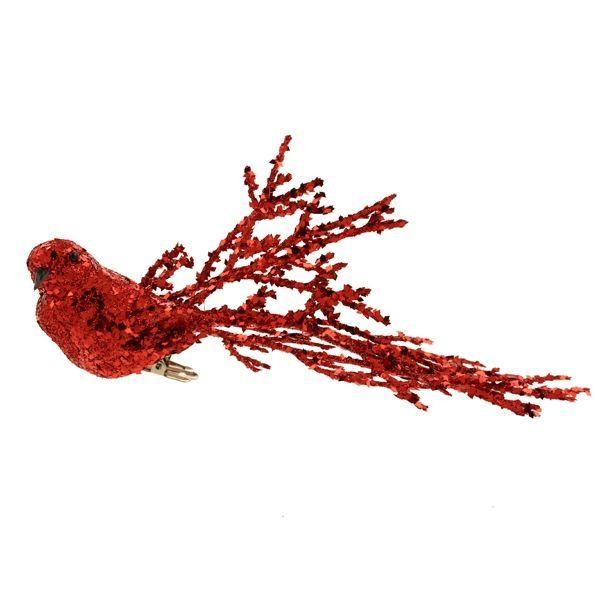 20cm Glittered Bird Clip Red