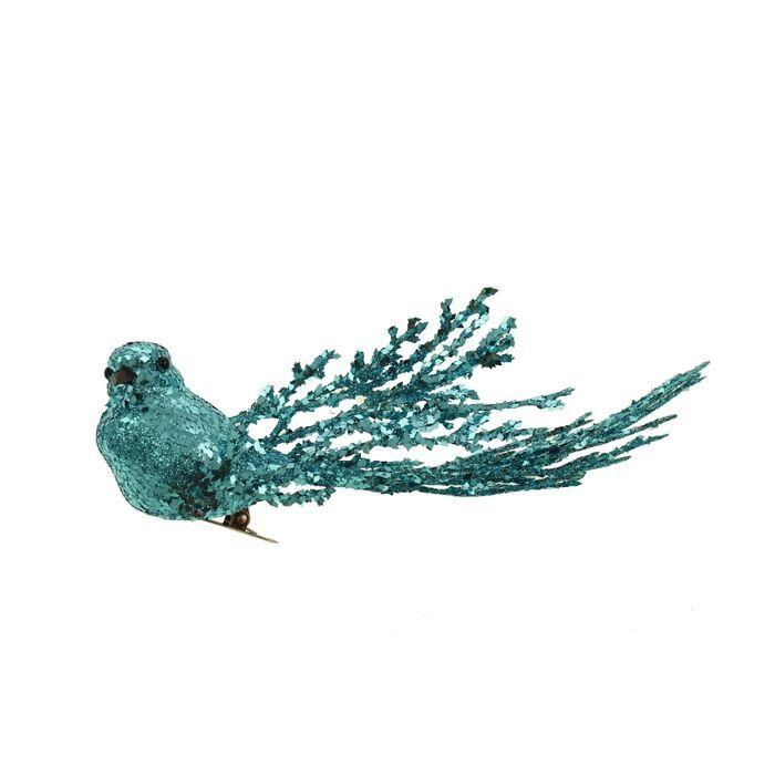 20cm Glittered Bird Clip Blue