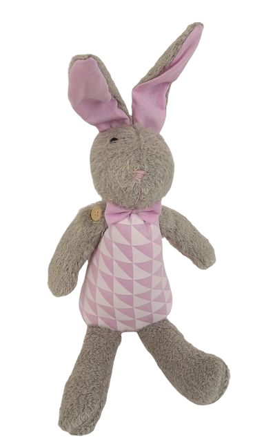 36cm Wool Rabbit Grey/Pink
