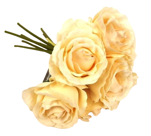26cm Peach Open Rose Bouquet