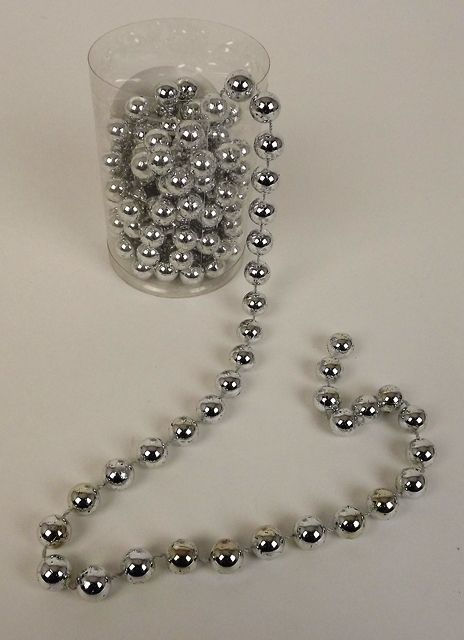 14mm Pearl Bead Chain - Silver x 3mtrs