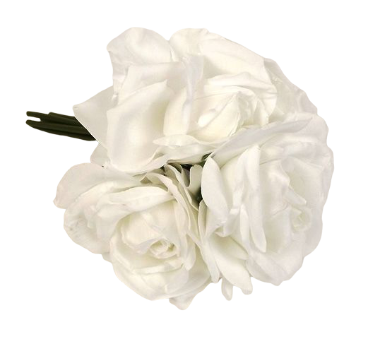 27cm Open Rose x 5 Heads Posy White