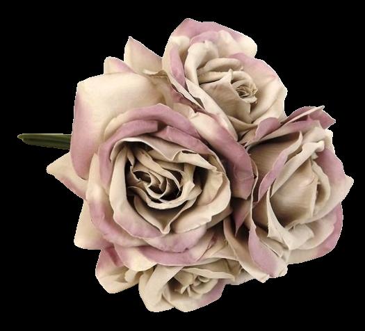 27cm Open Rose x 5 Heads Posy Grey