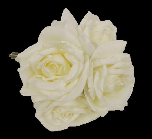 27cm Open Rose x 5 Heads Posy Cream