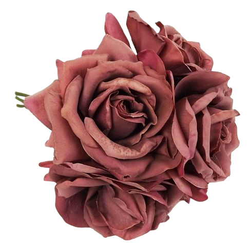 27cm Open Rose x 5 Heads Posy Puce