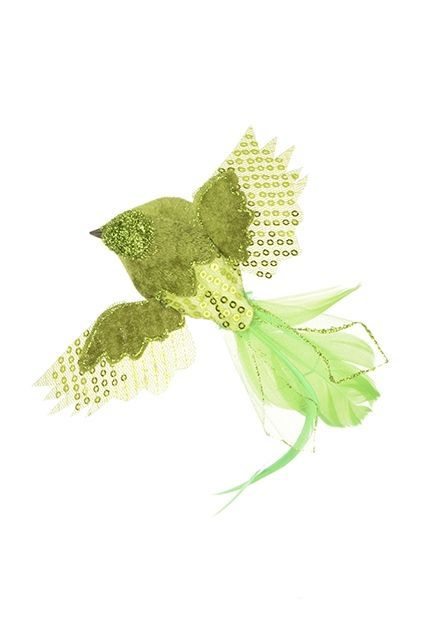 Feather Flying Bird Clip 4.5cm Lime