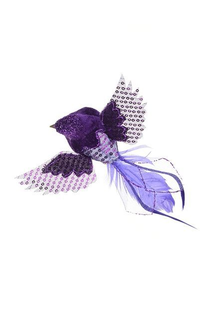 Feather Flying Bird Clip 4.5cm Purple