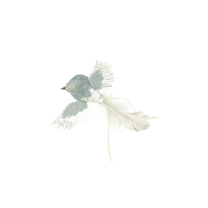 Feather Flying Bird Clip 4.5cm Silver