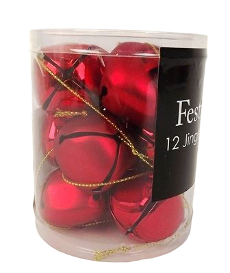 12 X 3.8Cm Red Bell Decorations