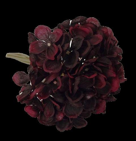 28cm Hydrangea Posy Bordeaux